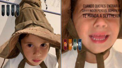 La angustia de Mateo Messi luego de probarse el sombrero de Harry Potter