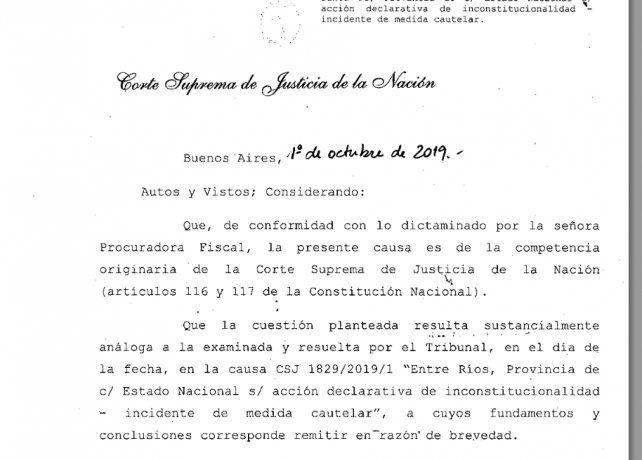 La Corte Suprema falló sobre la presentación de Entre Ríos