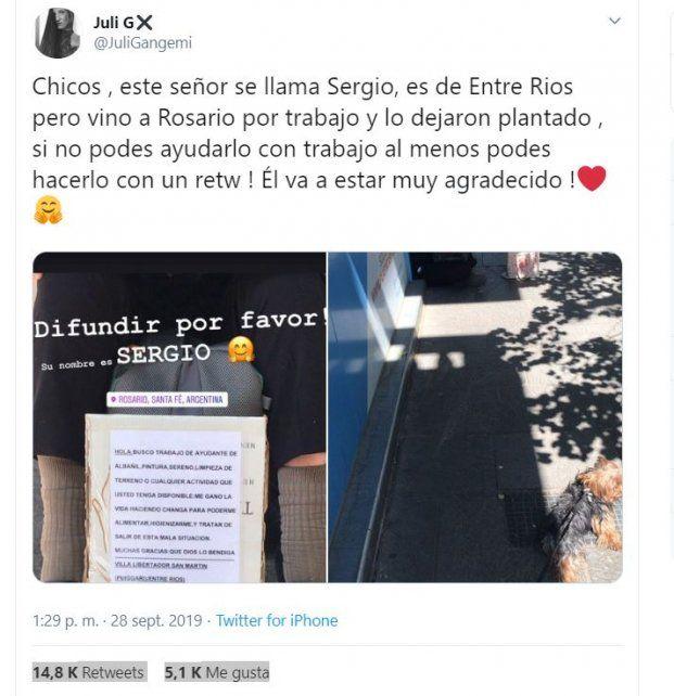 Entrerriano que pide trabajo en Rosario conmovió Twitter