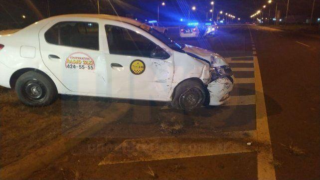 Acceso Norte: Fuerte choque entre un taxi y un automóvil