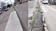 inconcluso. El estado del cantero central, un riesgo para los vehículos; están pendientes los cruces peatonales.
