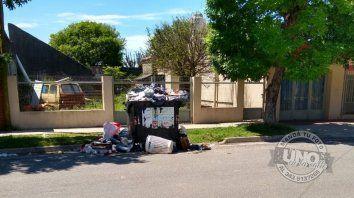 En calle Medus, casi Celestino Marcó hace más de una semana que el camión de basura no recoge residuos.
