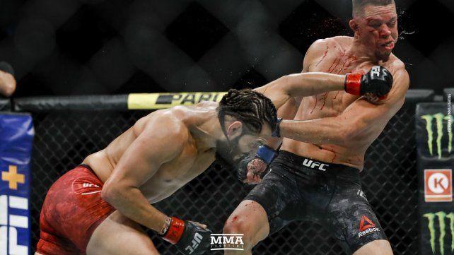 Jorge Masvidal venció a Nate Díaz en un sangriento combate
