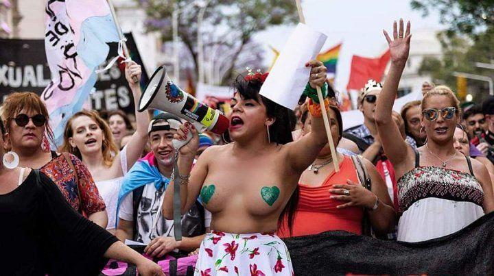 Keili González en la marcha del Orgullo 2018.