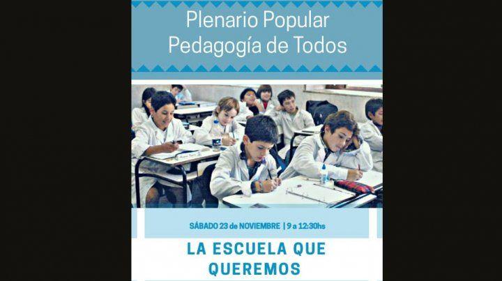 Este sábado se realizará en Paraná un Plenario Popular Pedagógico