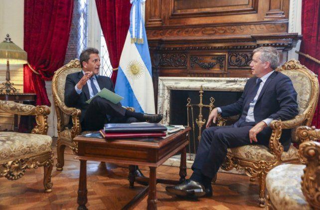 Balance y consultas. Massa se reunió con el presidente saliente