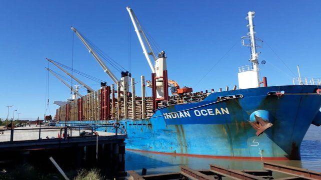 En el puerto de Ibicuy cargan 34.000 toneladas de madera de pino para exportar a China