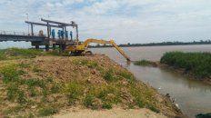trabajos en la toma nueva para mejorar la captacion de agua