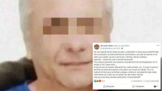 El detenido por el crimen del ginecólogo dijo en Facebook que era su amigo
