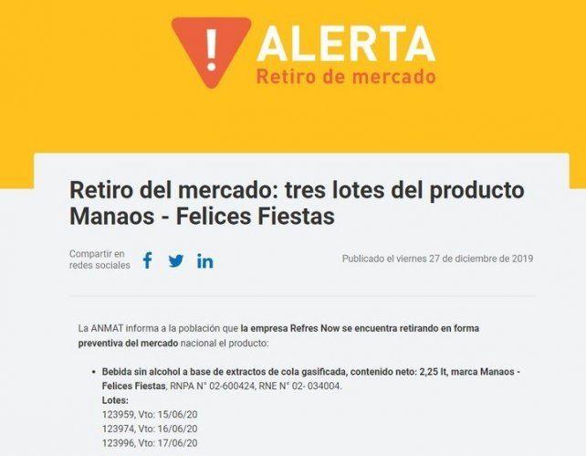 Ordenan retirar del mercado tres lotes de gaseosa Manaos