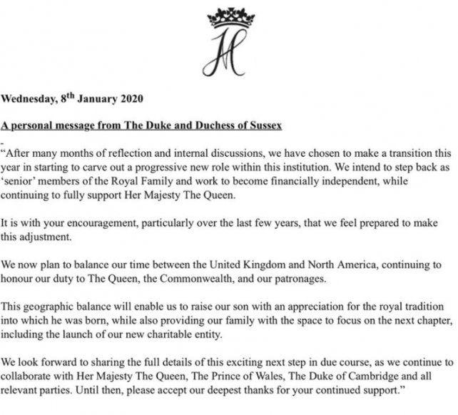 El príncipe Harry y Meghan Markle renunciaron a sus funciones en la Familia Real británica