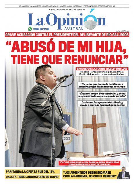 La tapa de uno de los diarios santacruceños, con la denuncia de abuso sexual contra el presidente del Concejo Deliberante de Río Gallegos, que ahora investiga la Justicia.