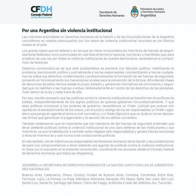 El documento firmado por las autoridades de Derechos Humanos.