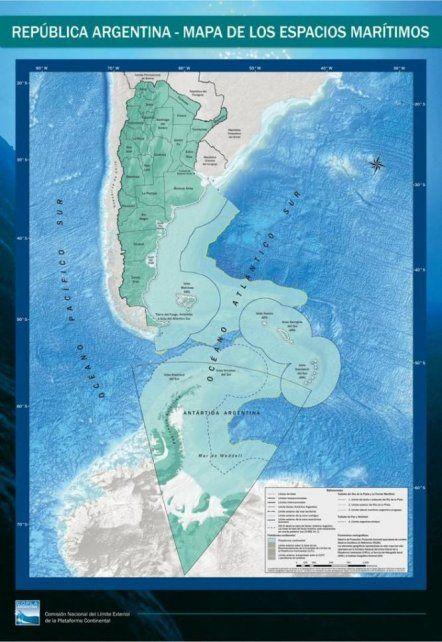 Las Malvinas y el mapa con el nuevo límite exterior.