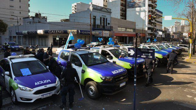 Protesta de efectivos de la Policía de Buenos Aires en Lomas de Zamora.