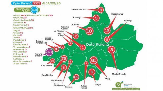 Estos son los casos acumulados de coronavirus en las localidades del Departamento Paraná.