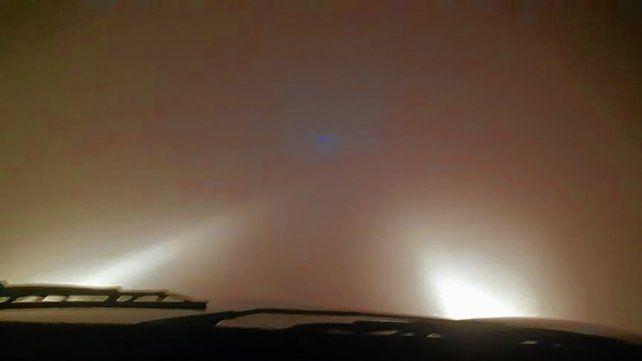 Así era la visibilidad debido al humo en Zárate-Brazo Largo a las 5.30 de este domingo.
